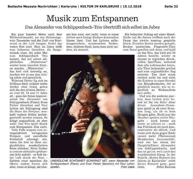 BNN Alexander von Schlippenbach Trio im Jubez